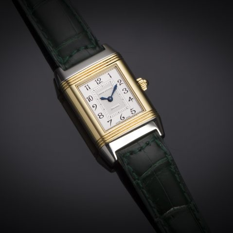 Montre Jaeger LeCoultre Reverso Duetto diamants or acier