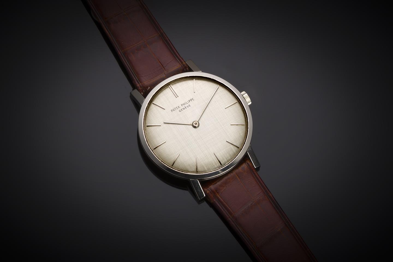 Montre Patek Philippe extra-plate or gris de 1964 or (avec extrait des registres)-1