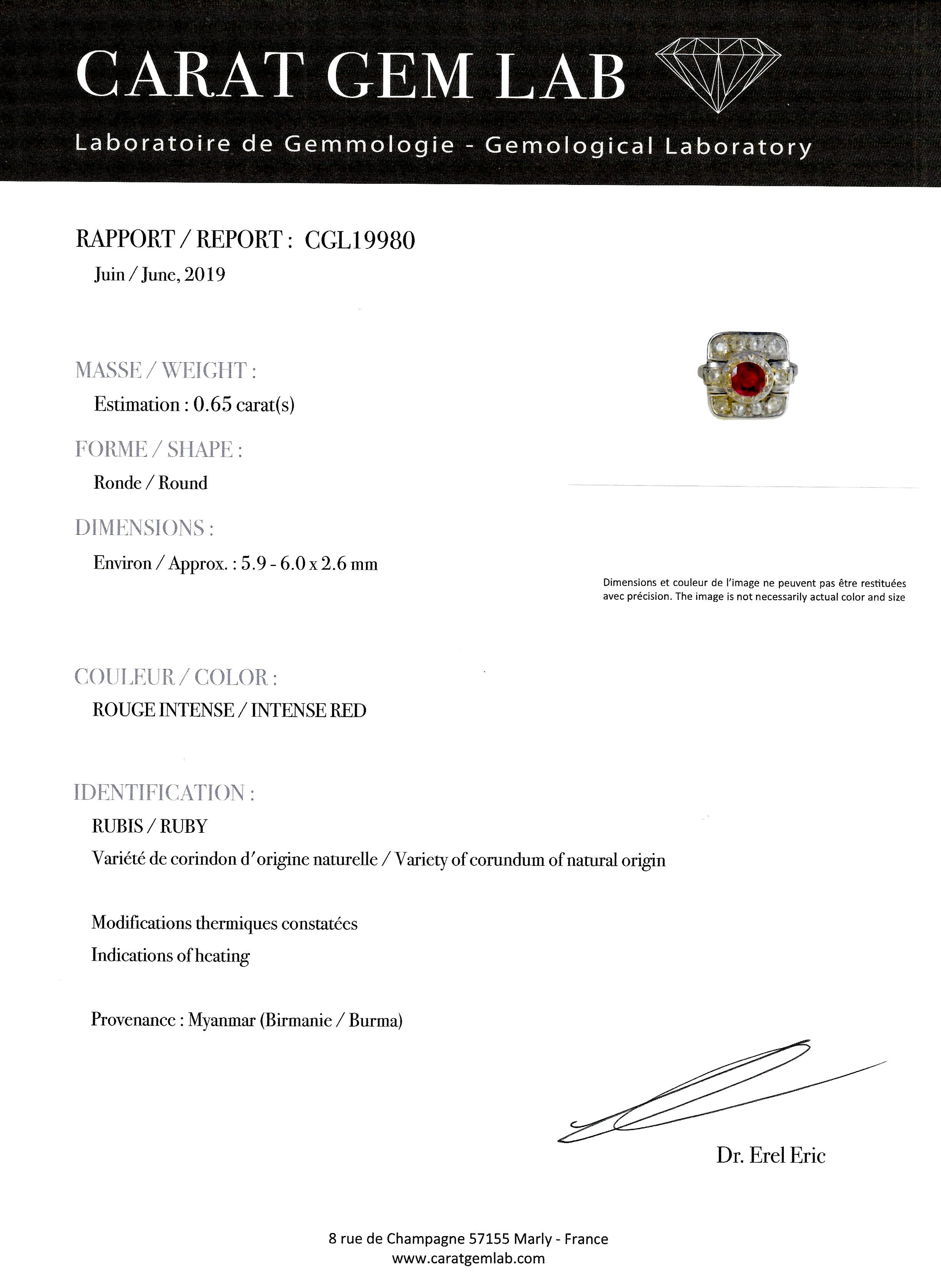 Bague Art Déco rubis (rouge intense – certificat CGL) diamants platine-4