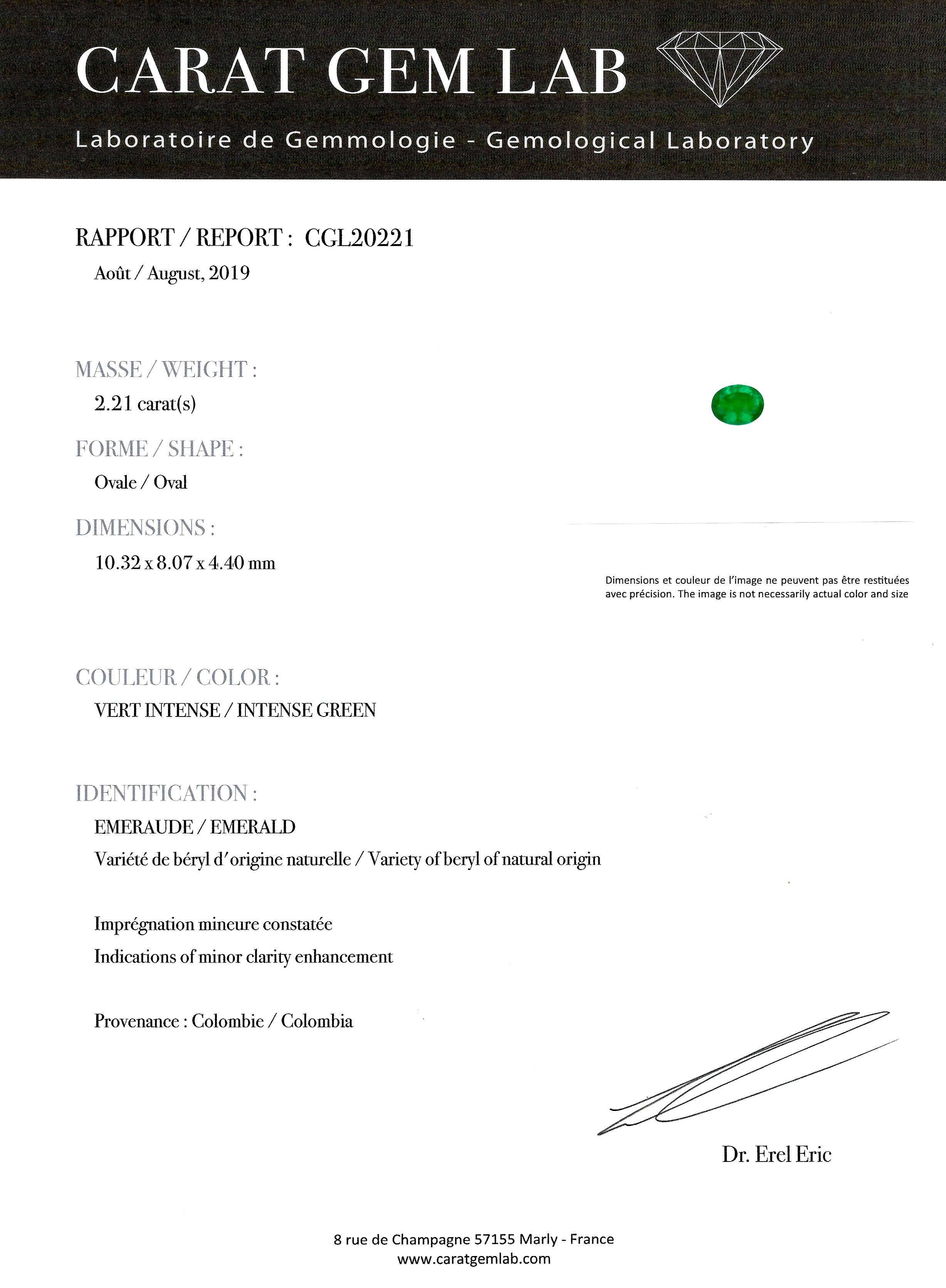 Bague émeraude (Colombie – Certificat CGL) diamants fin XIXe siècle-4