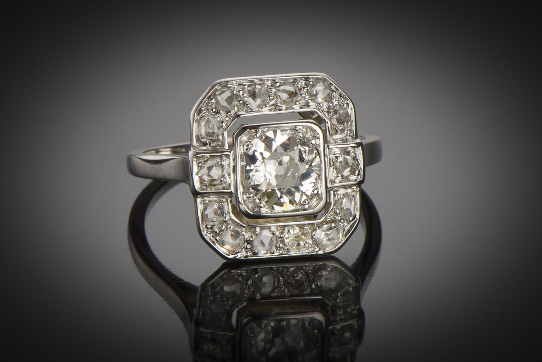 Bague Art Déco diamants (centre 0,90 carat)-1