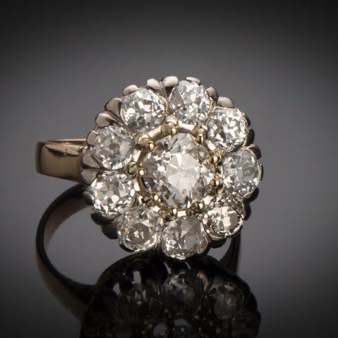Bague fin XIXe siècle diamants (3,05 carats dont centre 1,25 carat)