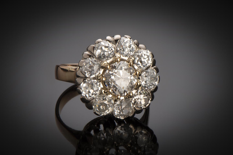 Bague fin XIXe siècle diamants (3,05 carats dont centre 1,25 carat)-1