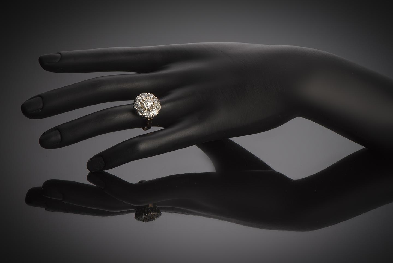 Bague fin XIXe siècle diamants (3,05 carats dont centre 1,25 carat)-2