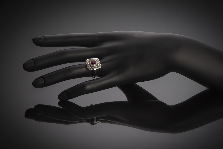 Bague Art Déco rubis (rouge intense – certificat CGL) diamants platine-3