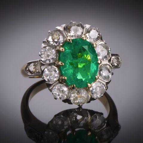 Bague émeraude (Colombie – Certificat CGL) diamants fin XIXe siècle