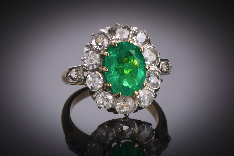 Bague émeraude (Colombie – Certificat CGL) diamants fin XIXe siècle-1