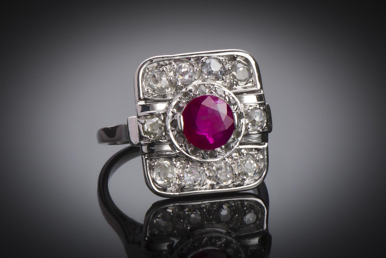 Bague Art Déco rubis (rouge intense – certificat CGL) diamants platine-1