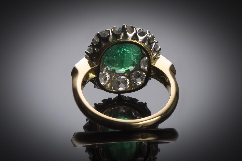 Bague émeraude (Colombie – Certificat CGL) diamants fin XIXe siècle-2