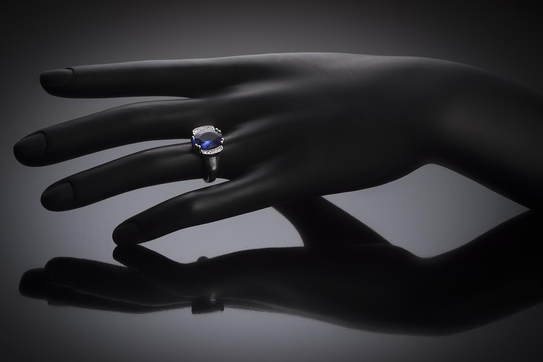 Bague tanzanite (3,80 carats) diamants-2