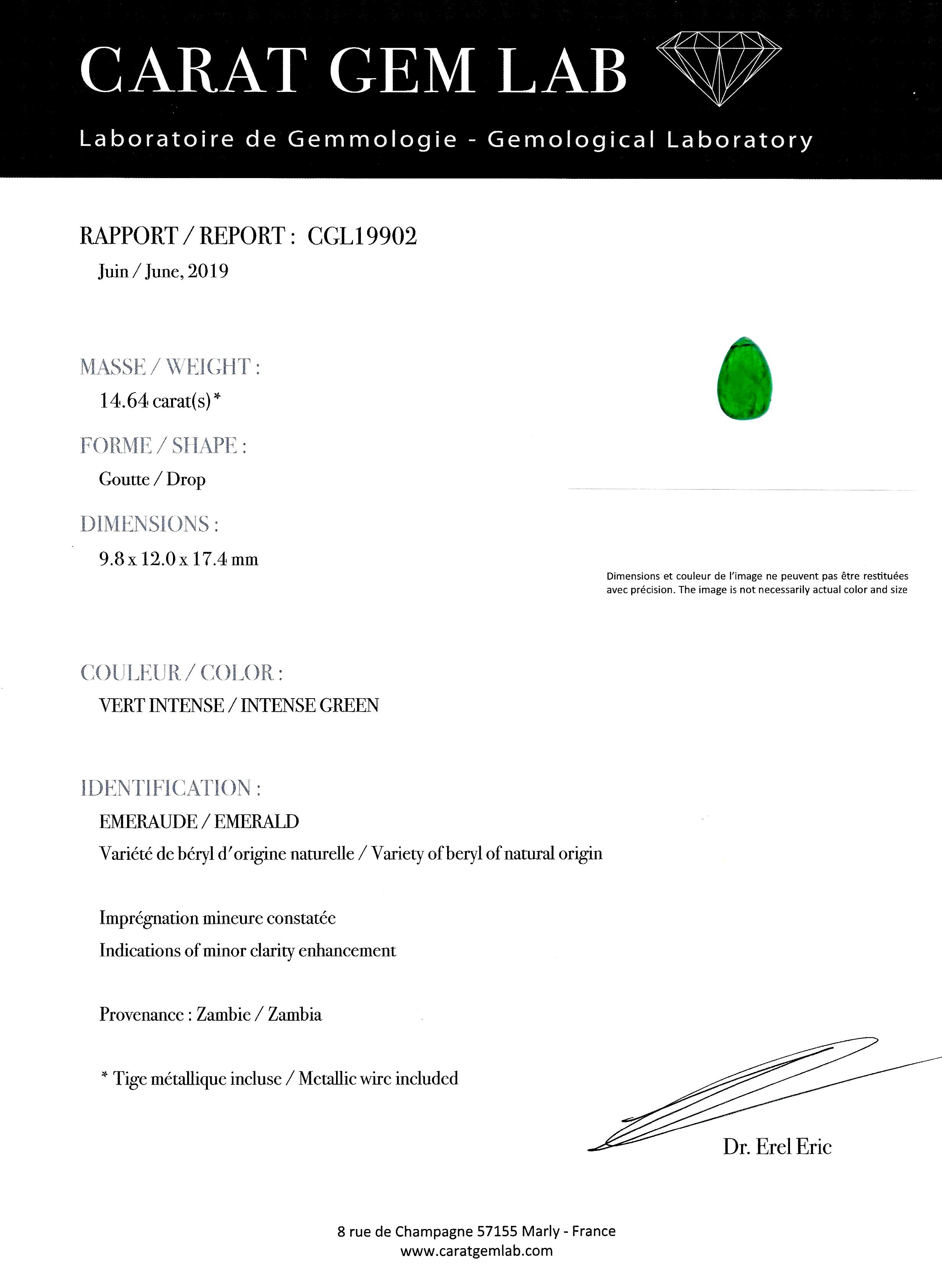 Pendentif émeraude cabochon (14,64 carats – certificat CGL) diamants-2