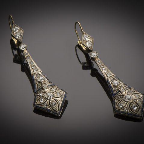 Pendants d'oreilles Art Déco diamants saphirs