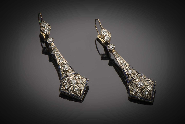 Pendants d'oreilles Art Déco diamants saphirs-1