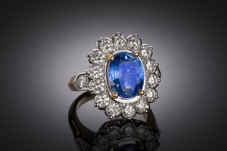 Bague saphir (3,70 carats) diamants (2 carats)-1
