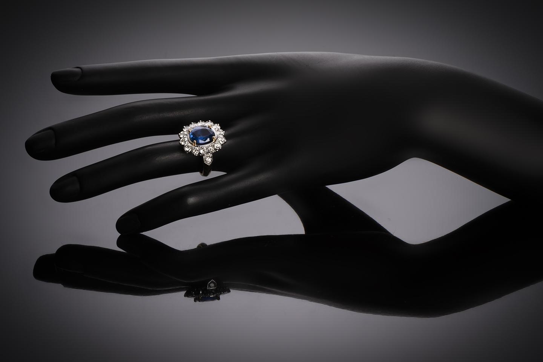 Bague saphir (3,70 carats) diamants (2 carats)-2
