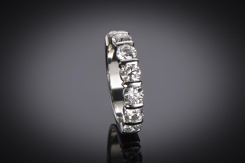 Demi-alliance diamants (2,10 carats – Certificats GIA E VS)-1