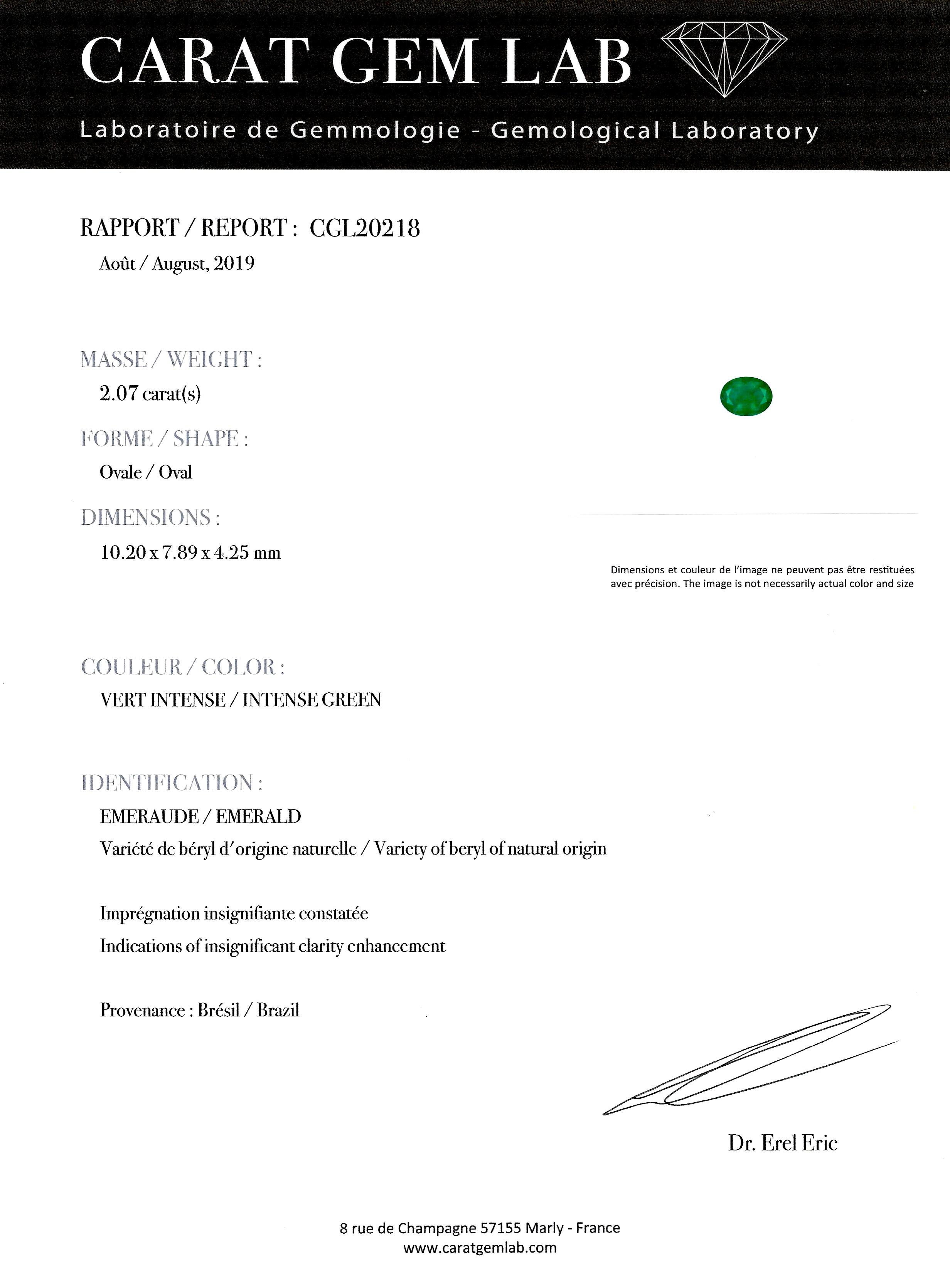 Bague émeraude vert intense (2,07 carats – Certificat CGL) diamants-3