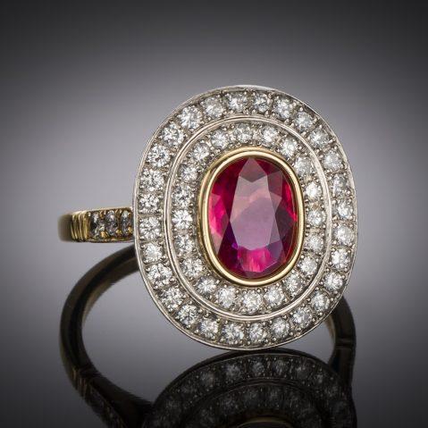 Bague Wolfers rubis (certificat CGL) diamants