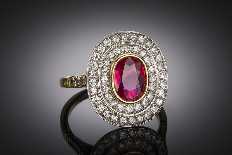 Bague Wolfers rubis (certificat CGL) diamants-1