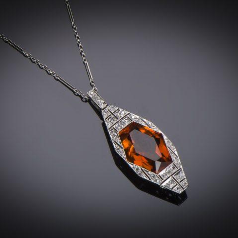 Pendentif et sa chaîne Art Déco citrine diamants