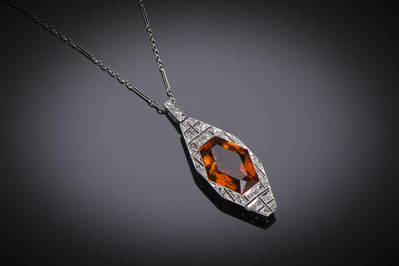 Pendentif et sa chaîne Art Déco citrine diamants-1