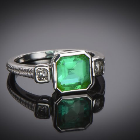 Bague émeraude (certificat CGL) diamants