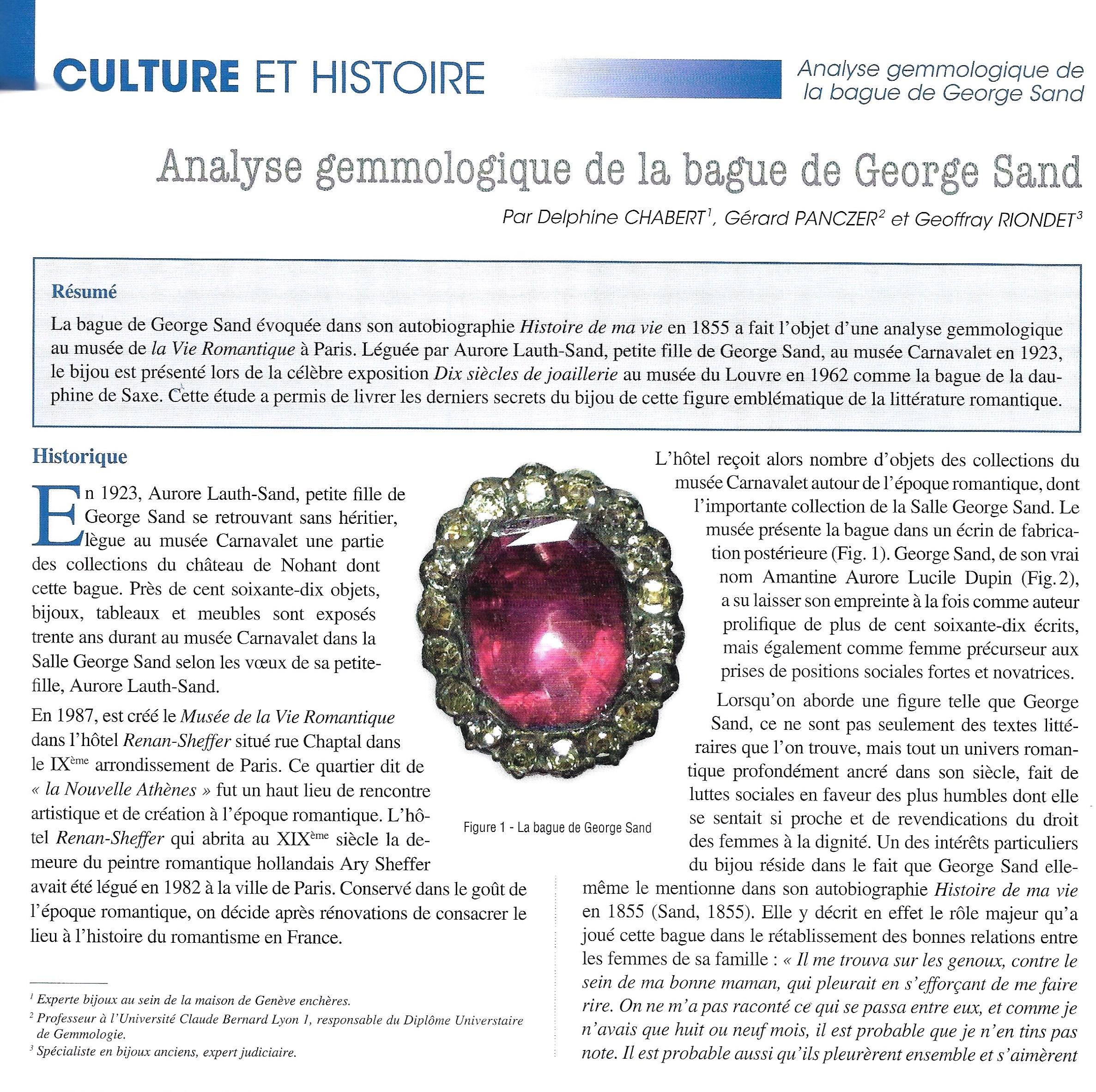 Un peu de lecture pendant le confinement: «Analyse gemmologique de la bague de George Sand» dans la Revue de gemmologie AFG