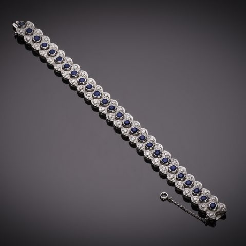Bracelet saphirs diamants vers 1950