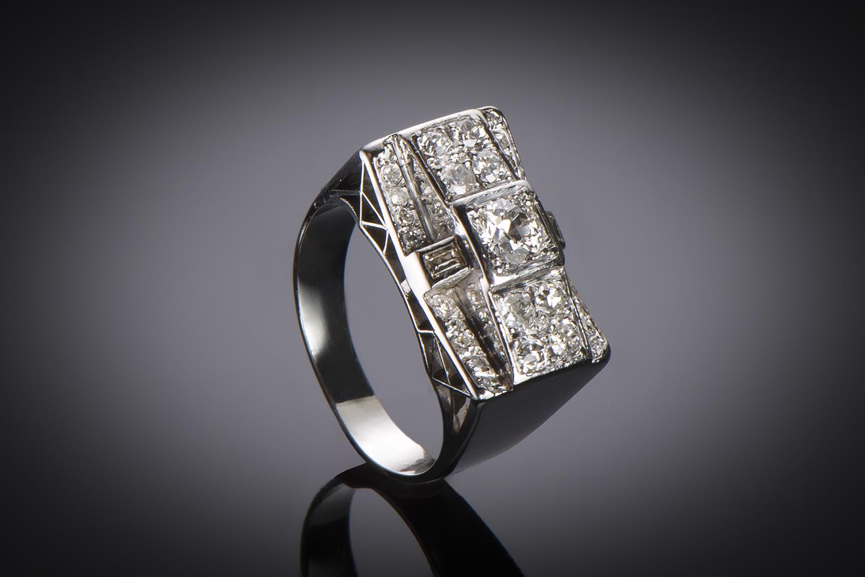 Bague vers 1935 diamants (1,50 carat)-2
