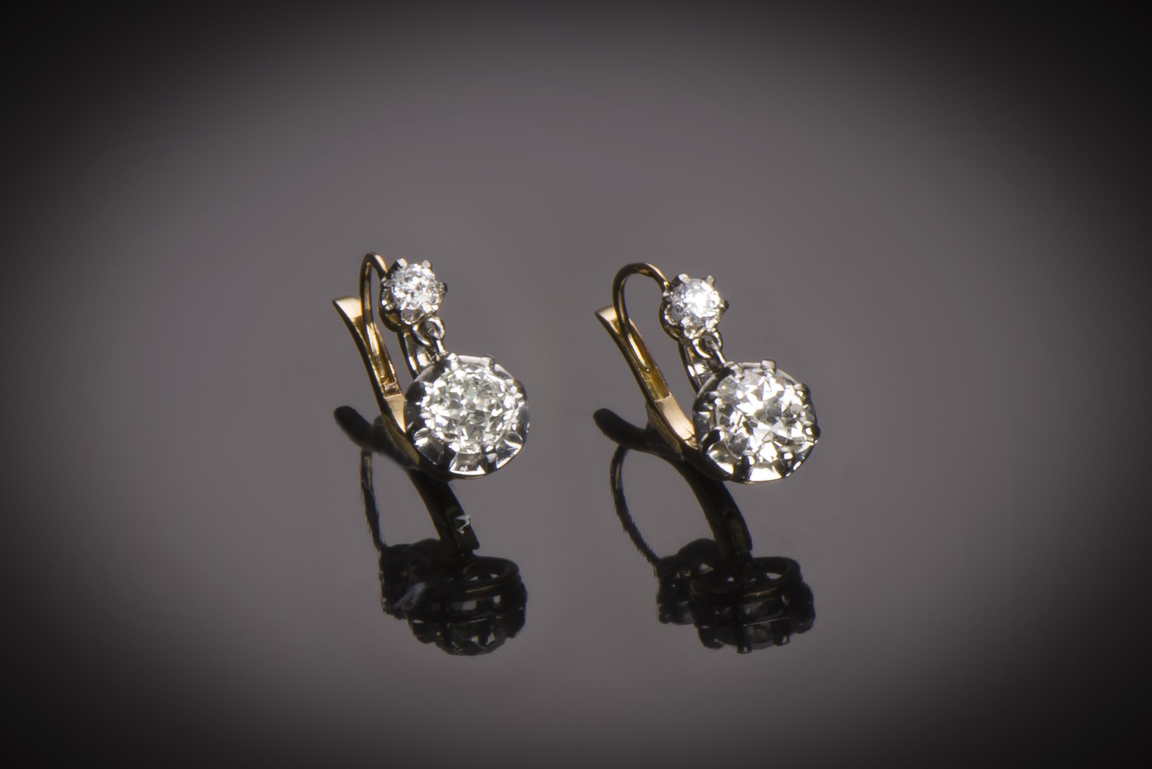 Boucles d'oreilles diamants (2 carats) vers 1900-1