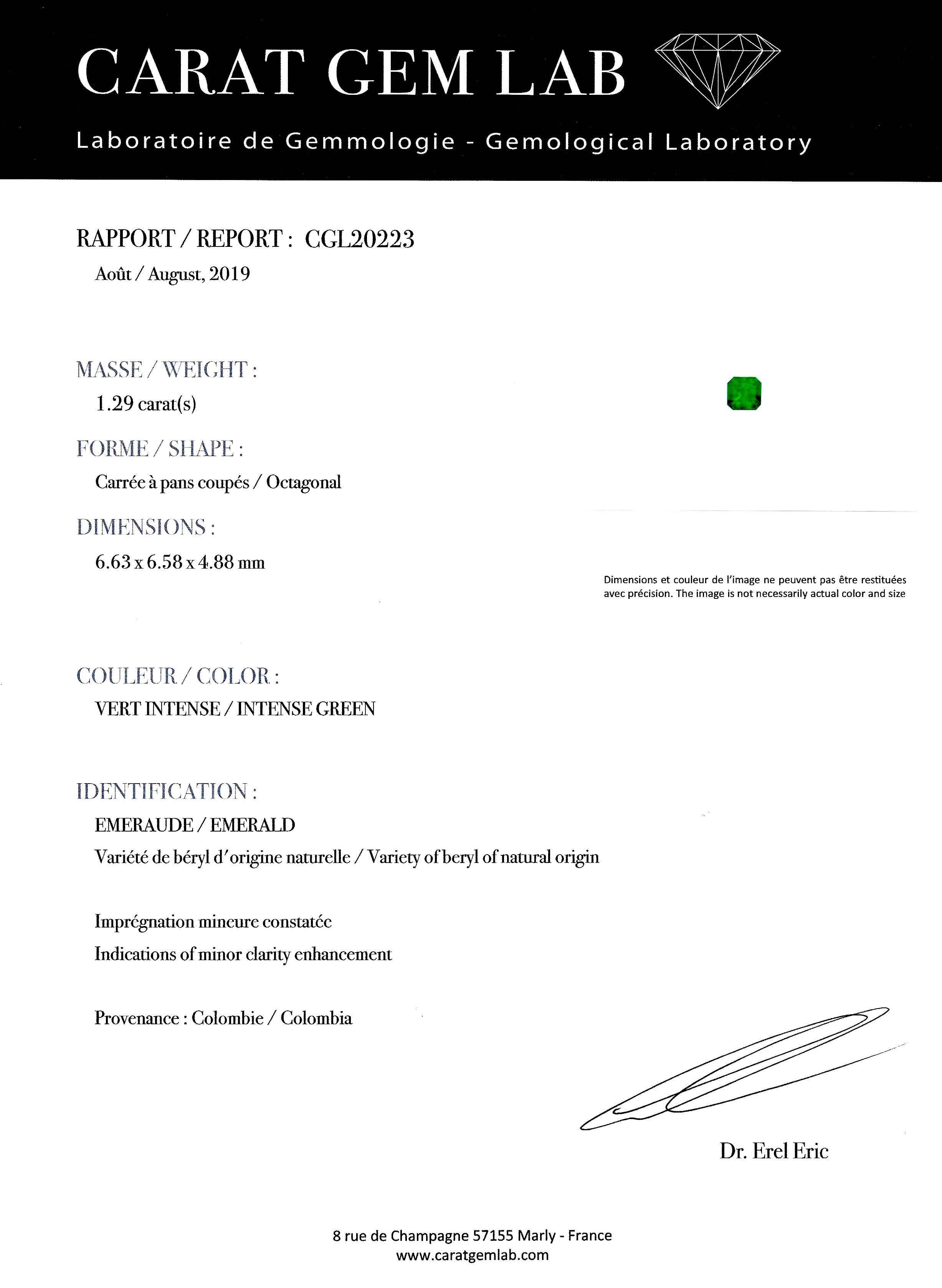 Bague Art Déco émeraude Colombie (certificat CGL) diamants-4