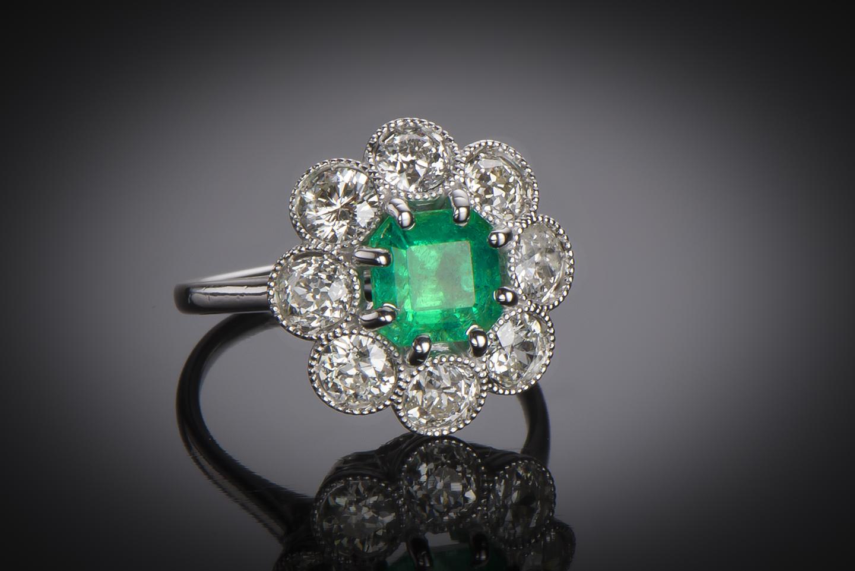 Bague Art Déco émeraude Colombie (certificat CGL) diamants-1