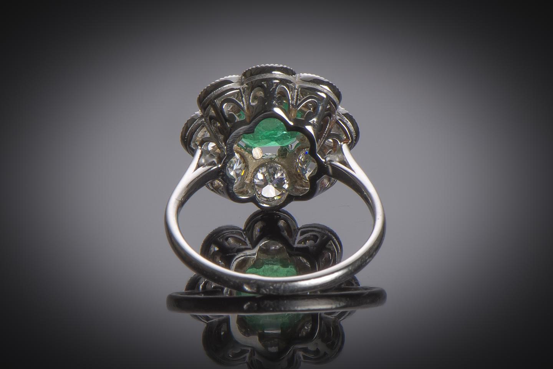 Bague Art Déco émeraude Colombie (certificat CGL) diamants-2