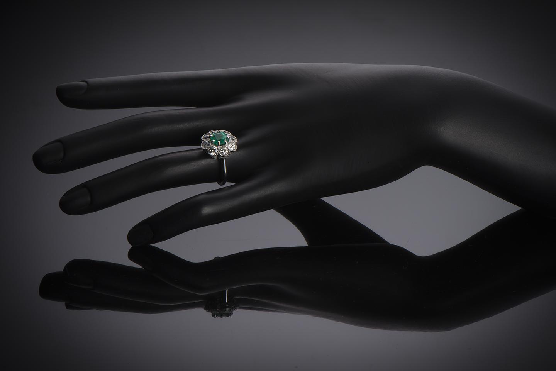 Bague Art Déco émeraude Colombie (certificat CGL) diamants-3