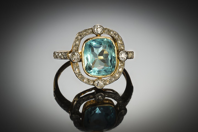 Bague aigue-marine diamants vers 1920-1