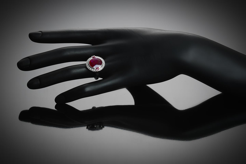 Bague rubis naturel 6,41 carats (certificat LFG) diamants-2