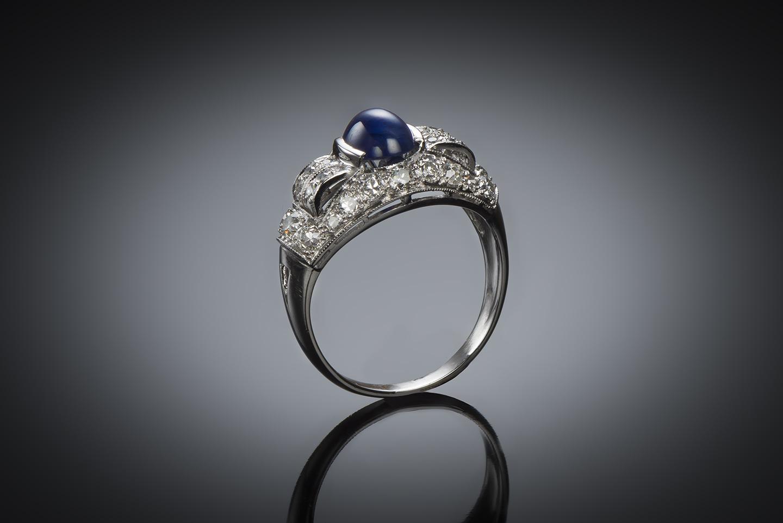 Bague saphir cabochon diamants Art Déco-1