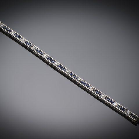 Bracelet diamants et saphirs époque Art Déco