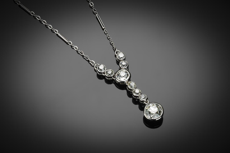 Collier diamants Art Déco (2,50 carats centre 1,20 carat)-1