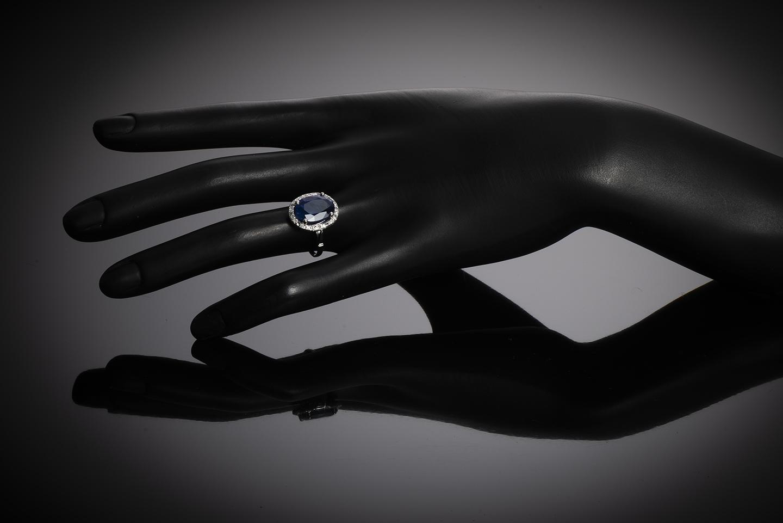 Bague Art Déco saphir (6,22 carats) diamants-3
