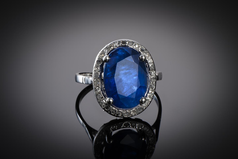 Bague Art Déco saphir (6,22 carats) diamants-1