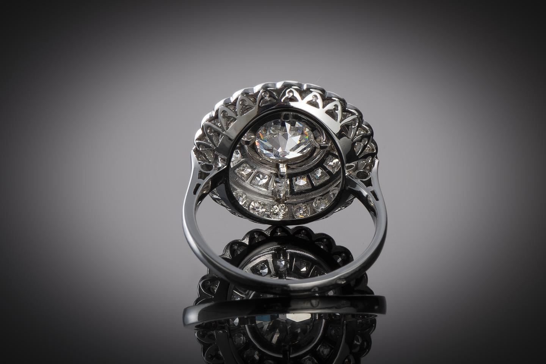 Bague Art Déco diamants (3 carats, centre 1,40 carat)-2