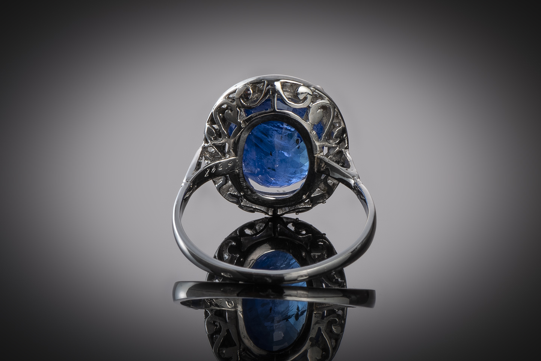 Bague Art Déco saphir (6,22 carats) diamants-2