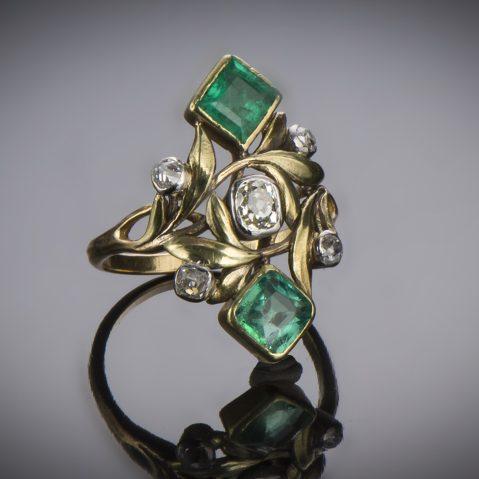 Bague Art nouveau Edouard-Aimé Arnould émeraudes et diamants (avec son dessin préparatoire)