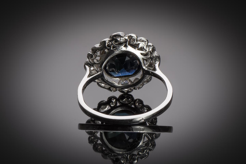 Bague Art Déco saphir (3 carats) diamants (1 carat)-2