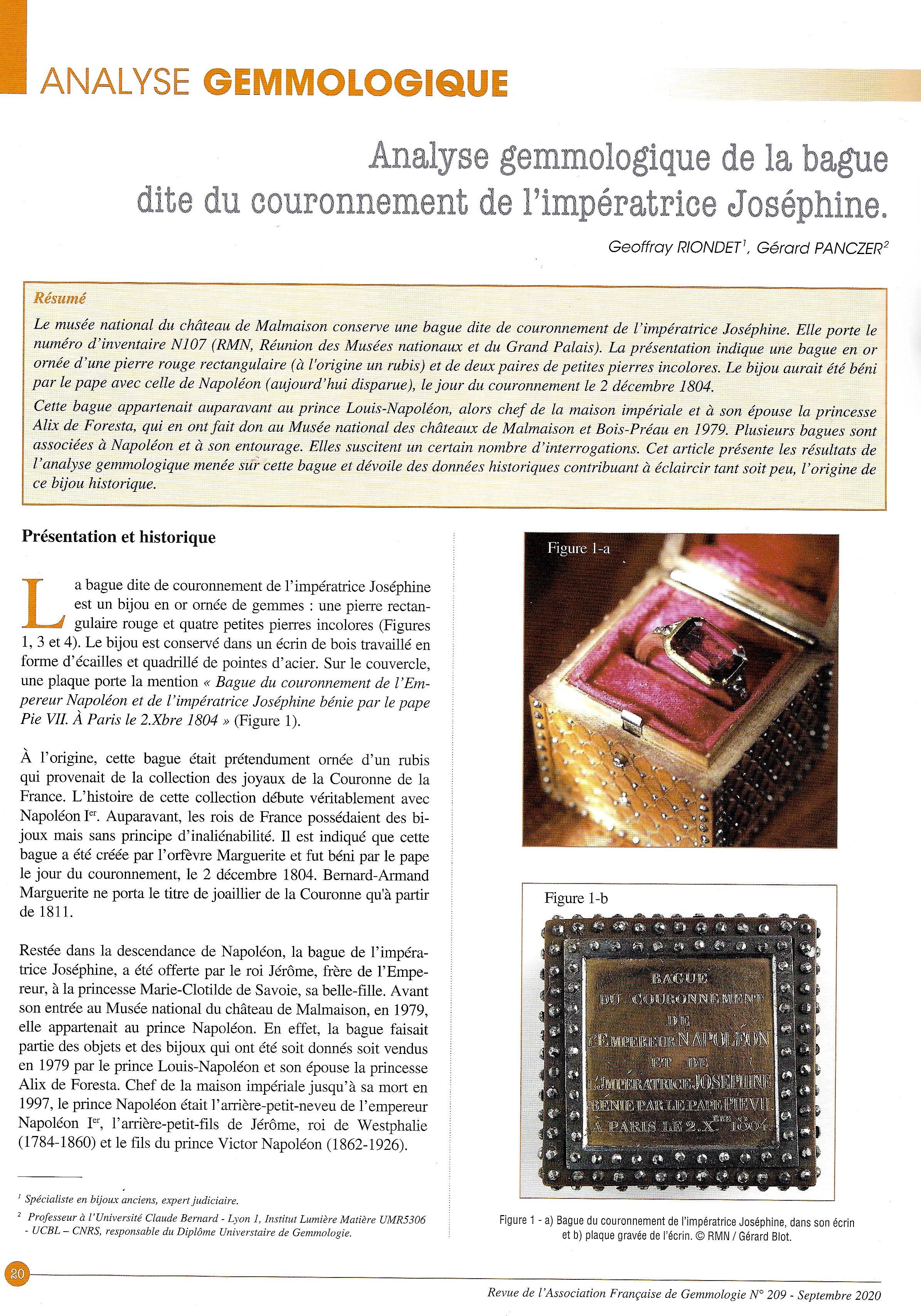 Parution de l'article « Analyse gemmologique de la bague dite du couronnement de l'impératrice Joséphine » dans la Revue de gemmologie AFG
