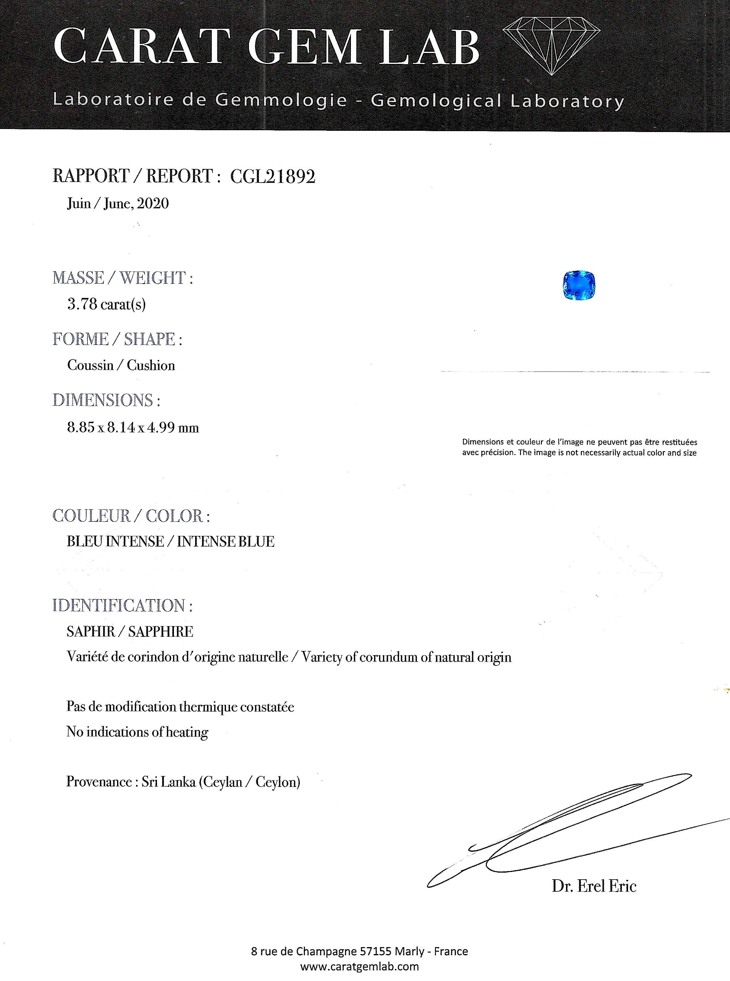 Bague saphir naturel bleu intense (3,78 carats – Certificat CGL) diamants triangle (1 carat)-3