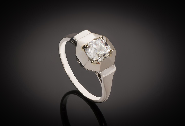 Solitaire diamant coussin taille ancienne 1,04 carat (certificat LFG – H VS2) Art Déco-1