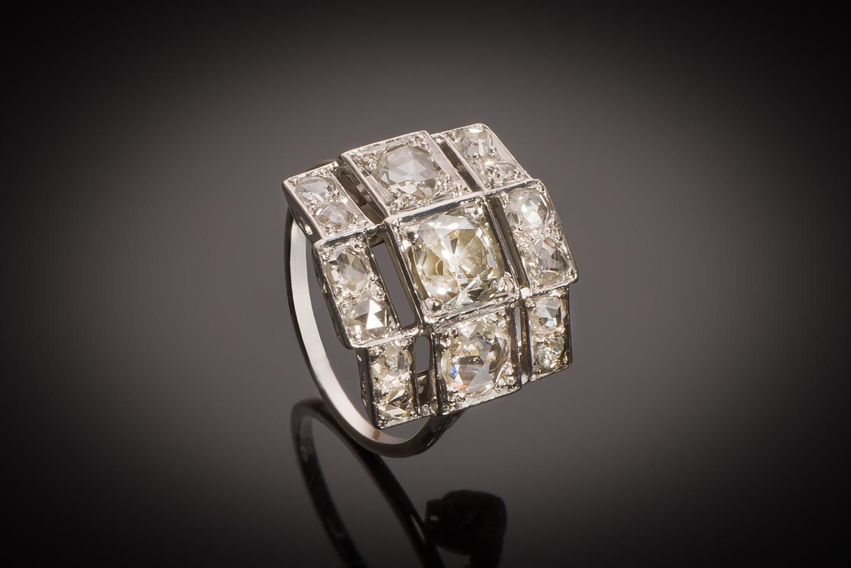 Bague Art Déco diamants (2,20 carats, centre 1,03 carat)-2