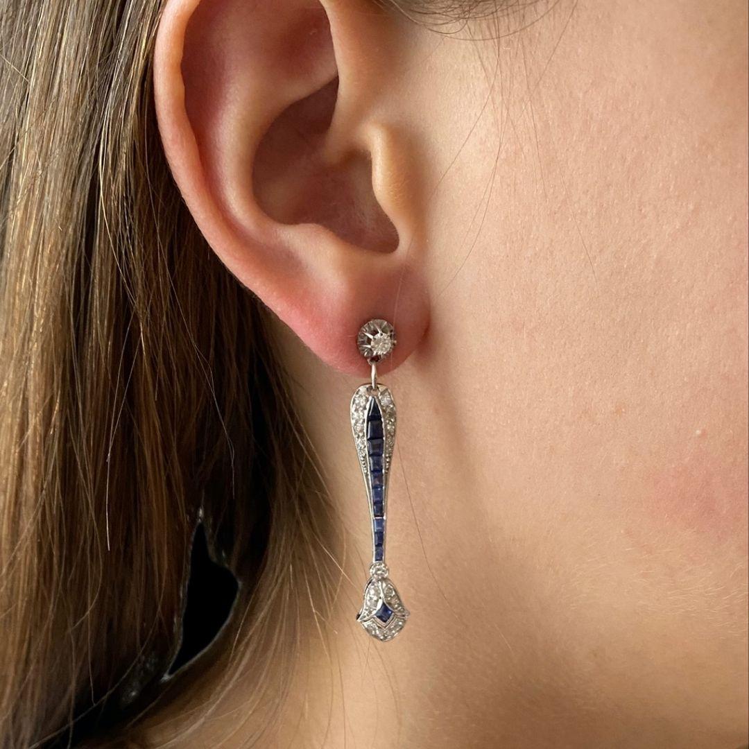 Boucles d'oreilles diamants saphirs calibrés Art Déco-2